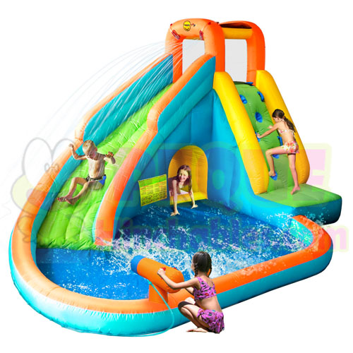 Castillo hinchable tobog n y piscina mini castillos for Piscina hinchable jardin